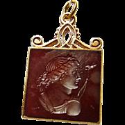 Carnelian in Gold Watch Fob