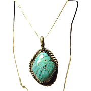 Turquoise Pendant on Sterling Silver Box Chain