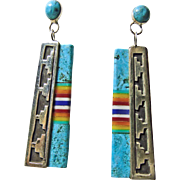 Sterling Silver Earrings with Turquoise and Multiple Stone Inlay