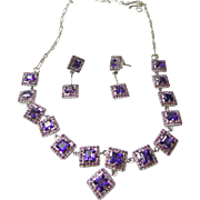 Sterling Necklace and Earrings with Princess Cut Amethysts and Small Rubies