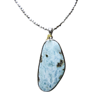 Larimar Sterling Silver Pendant on Sterling Small Nugget Necklace