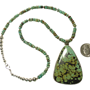 Large Chinese Turquoise Sterling Pendant on Turquoise Bead Necklace