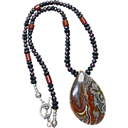 Stunning Laguna Lace Agate Pendant on Necklace of Garnets, Spinel and Carnelian Beads