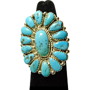 Sleeping Beauty Turquoise Sterling Silver Cluster Ring