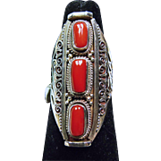 Sterling Silver Ring with Tibetan Red Coral