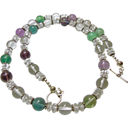 Natural Fluorite and Clear Quartz Necklace