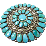 Native American Sterling Silver and Turquoise Cluster Pin/Pendant