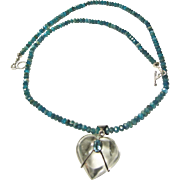 Blue Apatite Necklace with Pool of Light Heart Pendant