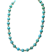 Necklace of Kingman Turquoise 10mm Beads and Sterling Silver Bench Beads