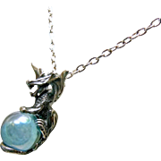 Sterling Silver Dragon Pendant with Aqua Aurora Orb on Sterling Chain