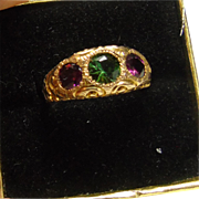 Fine Rose Gold Chased Ring with Green Tourmaline and Rhodolite Garnets