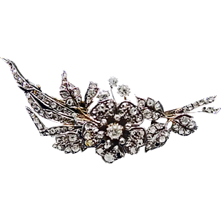 1860-1880s Gold and Silver Diamond Brooch