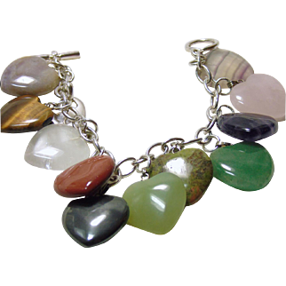 Sterling Silver Bracelet with Natural Stone Heart Charms