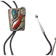 Southwestern Coral and Turquoise Snake Bolo