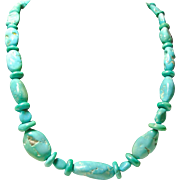 Necklace of Sleeping Beauty Turquoise  Nuggets and Rondelles