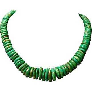 Necklace of Green Turquoise Rondelles