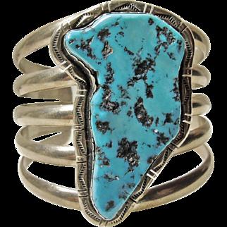 Sleeping Beauty Turquoise 5 Wire Sterling Cuff Bracelet