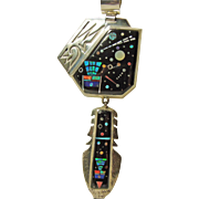 Superb Alan Yellowhorse Pendant Decorated in Night Sky Inlay Design