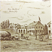 Minton New Bedford Mass 1787 Transferware Tile
