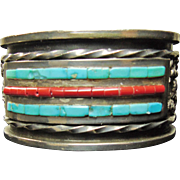 Sterling Silver Cuff Bracelet with Turquoise and Coral  Channel Inlay