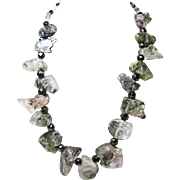 Black Tourmalinated Quartz and Amethyst Quartz Necklace