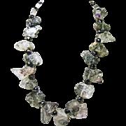Black Tourmalinated Quartz and Amethyst Quartz Necklace
