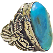 Sterling Silver Ring with Large Oval Cabochon