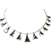 Triangular Crystal Bead and Sterling Silver Necklace