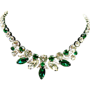 Eisenberg Ice Green and White Rhinestone Necklace