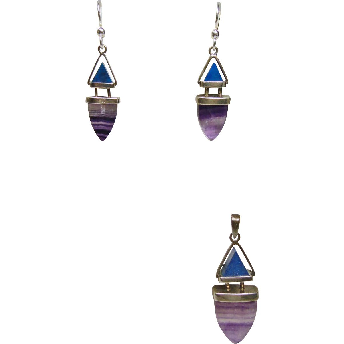 Fluorite and Lapis Sterling Silver Pendant and Earrings