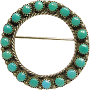 Southwestern Turquoise Sterling Silver Circular Pin/Pendant