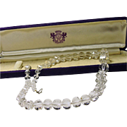Natural Rock Crystal Graduated Bead Necklace in Original Jaccard's Box
