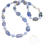 Boulder Blue Chalcedony and Blue Crazy Lace Agate Bead Necklace