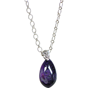 Sugilite Pendant on Sterling Silver Chain