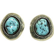 Sterling Silver Turquoise Clip Earrings