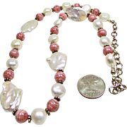 Necklace of Baroque, Keshi Pearls and Rhodochrosite Beads
