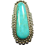 Sterling Silver Ring with Deep Blue Green Turquoise