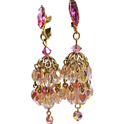 Hot Pink Rhinestone and Pink Crystal Chandelier Earrings