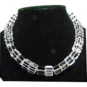 Deco Style Necklace of Clear Natural Quartz Crystal Cube Cut Beads
