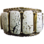 Sterling Silver Cuff Bracelet with Rare White Buffalo Turquoise