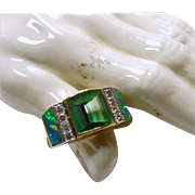 Green Tourmaline. Diamond and  Black Opal Platinum and 18k Gold Ring by David Freeland