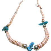 Red Lip Shell Heishi and Turquoise Necklace