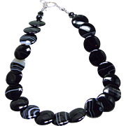 Banded Black Agate Disc Necklace with Fancy Sterling Toggle Clasp