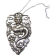 Vintage Sterling Silver Dragon Pendant/Charm on Chain