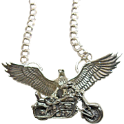 Charm Pendant of an Eagle on a Motorcycle on a Sterling Double Link Chain