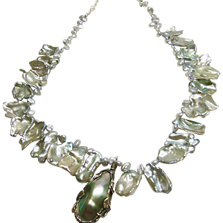 Platinum Large Keishi Pearls with Vintage Arts and Crafts Pendant
