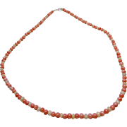 Salmon Pink Coral and Welo Opal Bead Necklace