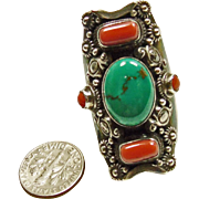 Tibetan Red Branch Coral and Blue Green Turquoise Ring in Sterling Silver