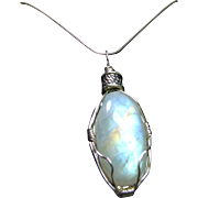 Stunning Moonstone Wire Wrap Pendant on Sterling Silver Chain