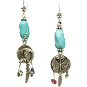 Sterling Silver Sleeping Beauty Turquoise and Fetish Earrings
